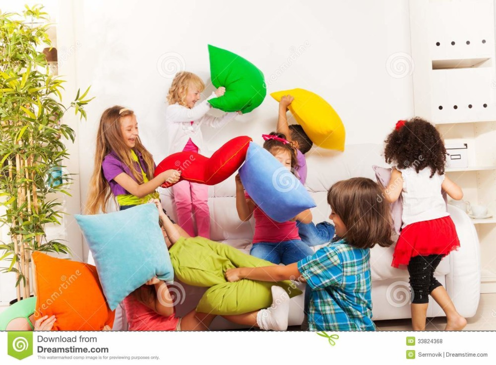 kids-playing-pillow-fight-large-group-actively-living-room-coach-33824368